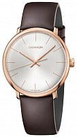 Calvin Klein High Noon Brown Leather Rose Gold PVD K8M216G6