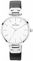 Mockberg Astrid White Dial Silver Black Leather MO1002