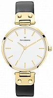 Mockberg Saga White Dial Yellow Gold Black Leather MO107