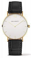 Paul Hewitt Sailor Line Gold White Sand Leather Black PH-SA-G-ST-W-15M