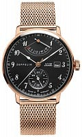 Zeppelin LZ129 Hindenburg Automatic GMT Power Reserve Mesh Rose Gold PVD ZE-7064M-2